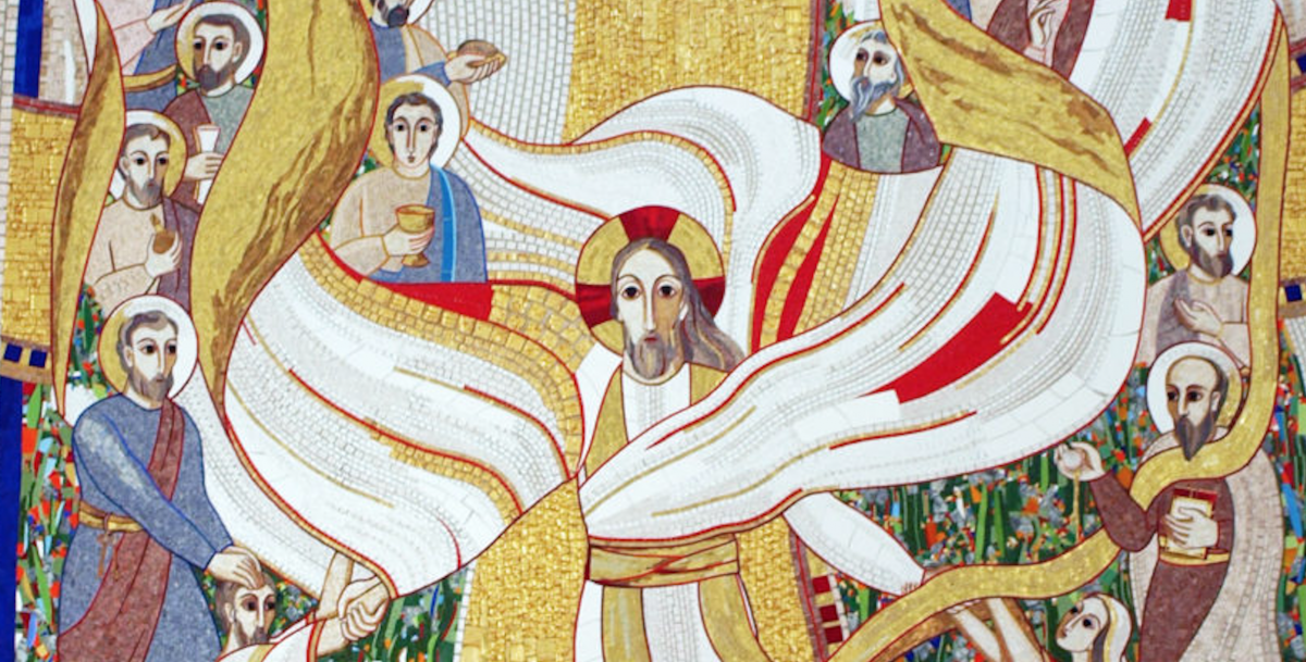 """padre Marko Rupnik, """"Discesa agli Inferi e Risurrezione"""", 2006, Cappella del Collegio San Stanislao (Lubiana, Slovenia), particolare"""